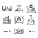 Money and financial institutions topic. Vector icons set of money and finance attributes such as banknotes, coins, strongbox and bank on white background with Stock Image