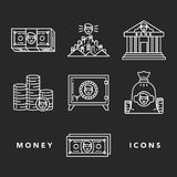 Money and financial institutions topic. Vector icons set of money and finance attributes such as banknotes, coins, strongbox and bank on white background with Royalty Free Stock Photos