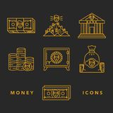Money and financial institutions topic. Vector icons set of money and finance attributes such as banknotes, coins, strongbox and bank on white background with Royalty Free Stock Photography