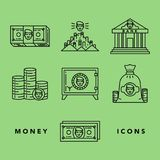 Money and financial institutions topic. Vector icons set of money and finance attributes such as banknotes, coins, strongbox and bank on white background with Royalty Free Stock Image
