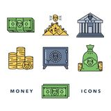 Money and financial institutions topic. Vector icons set of money and finance attributes such as banknotes, coins, strongbox and bank on white background with Royalty Free Stock Photo