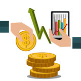 Money and financial market. Graphic design,  illustration Royalty Free Stock Photos
