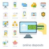 Money finanse banking safety icons business currency card deposit payment. Vector illustration. Exchange commerce symbols check investment payment design Royalty Free Stock Images