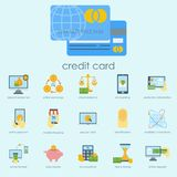 Money finanse banking safety icons business currency card deposit payment vector illustration. Exchange commerce symbols check investment payment design Royalty Free Stock Photos