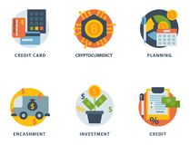 Money finanse banking safety icons business currency card financial deposit bank payment vector illustration. Exchange commerce symbols check investment Stock Photos