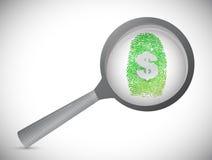 Money fingerprint under a magnify glass. Illustration design over white Royalty Free Stock Image