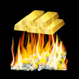 Money in the fire Royalty Free Stock Photo