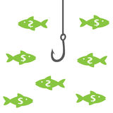 Money_fishing Stock Afbeelding