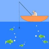 Money fishing. A fisherman catching some dollars royalty free illustration