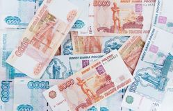 Money  five thousand and  thousand rubles. Money Russian banknotes dignity five thousand and  thousand rubles background Royalty Free Stock Photo