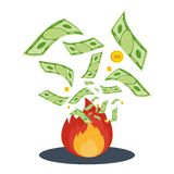 Money in flame. Cash flow. Banknotes fly away into fire. Bankruptcy and the collapse of the monetary system. Flat vector cartoon cash flow illustration. Objects Royalty Free Stock Images