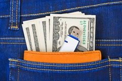 Money and flash memory in jeans pocket Stock Image