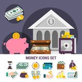 Money Flat Composition Set. With isolated icon set combined together in banner vector illustration Royalty Free Stock Image