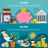 Money Flat Composition Set. With save and make money headlines and flat elements vector illustration Royalty Free Stock Photo