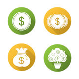 Money flat design long shadow icons set. Dollar coins, money bag and tree. Vector symbols Stock Photos