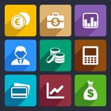 Money flat icon set 15. Money and coin flat icon set for Web and Mobile Applications Stock Photo