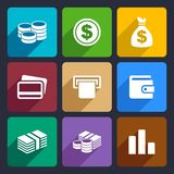 Money flat icon set 14. Money and coin flat icon set for Web and Mobile Applications Stock Image