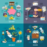 Money Flat Icon Set. With credit save make money and payments descriptions vector illustration Royalty Free Stock Photos