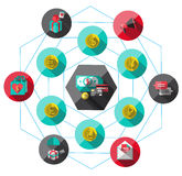 Money Flat icon set for Web and Mobile Application Royalty Free Stock Photo