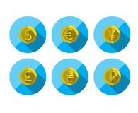 Money Flat icon set for Web and Mobile Application. Currency Symbols. Money, finance. Flat icons set for Web and Mobile Application Stock Images