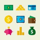 Money Flat Icons. Collection of money flat icons in vector illustration Royalty Free Stock Image