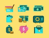 Money flat icons. finance icon set. Flat design element. vector illustration Stock Photo