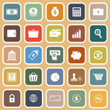 Money flat icons on orange background Stock Photo