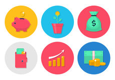 Money flat icons set. Modern icons with money, coins, moneybox piggy and wallet. Interface elements in flat design. Bank and commerce vector illustration Royalty Free Stock Image