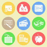 Money flat icons set. Vector EPS10 Stock Photography