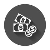 Money flat vector icon. Coin with long shadow Stock Images