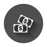 Money flat vector icon. Coin with long shadow Stock Photo