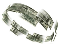 Money flaying. 3d illustration on white background Royalty Free Stock Images