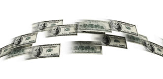 Money flaying. 3d illustration on white background Royalty Free Stock Photos