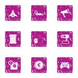 Money on flight icons set, grunge style. Money on flight icons set. Grunge set of 9 money on flight vector icons for web isolated on white background Royalty Free Stock Image