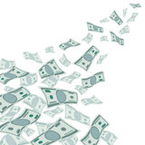 Money flow, falling dollars currency  on white vector illustration Royalty Free Stock Images