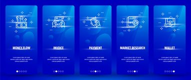Money flow, Invoice, Payment, Market research, Wallet Vertical Cards with strong metaphors. Template for website design Royalty Free Stock Photography