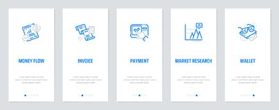 Money flow, Invoice, Payment, Market research, Wallet Vertical Cards with strong metaphors. Template for website design Stock Photos