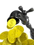 Money flow from metal tap Stock Photography