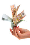 Money flower in hands Royalty Free Stock Images