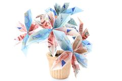 Money flower in a pot. Flower made of money in a pot, isolated Stock Photos