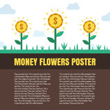 Money flowers (coins) vector illustration with place for your text. Modern flat minimalistic style. Royalty Free Stock Photo