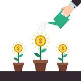 Money flowers growing up. Hand watering money flowers vector illustration. Royalty Free Stock Images