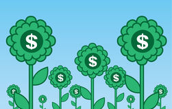 Money Flowers. Multiple green flowers with dollar symbols Royalty Free Stock Photo