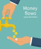 Money flows, concept. Vector illustration flat design. Isolated on white background. Businessman opens a water tap, gold coins fall. Catch money hand. Finance Royalty Free Stock Image