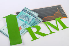 Money and fluctuating chart Royalty Free Stock Photos