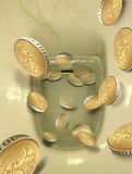 Money flushed down toilet pan. Composition photo of gold pound coins being flushed down the toilet Stock Illustration