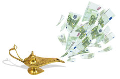 Money fly out of Aladdin's magic lamp. Business concept Royalty Free Stock Photos