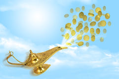 Money fly out of Aladdin's magic lamp Royalty Free Stock Images