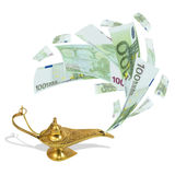 Money fly out of Aladdin's magic lamp. Business concept Stock Photos