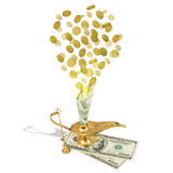 Money fly out of Aladdin's magic lamp Royalty Free Stock Photography